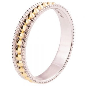 Two Tone Milgrain Wedding Band Yellow Gold R030 Catalogue