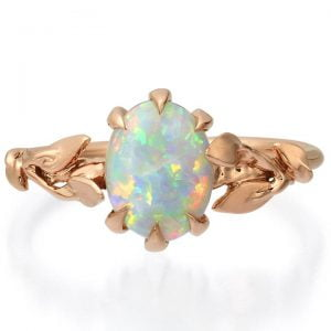 Rose Gold Leaves Opal Engagement Ring