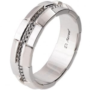 Men's Wedding Band Platinum and Black Diamonds BNG19 Catalogue