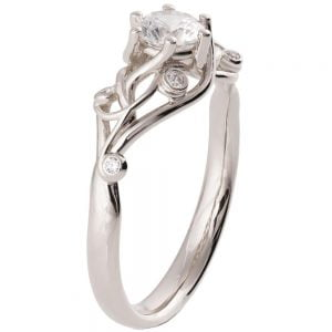 Knot Engagement Ring White Gold and Moissanite