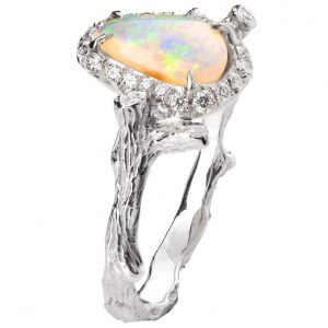 Twig Opal and Diamonds Engagement Ring Platinum 10 Catalogue