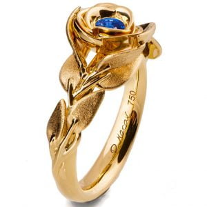 Rose Engagement Ring Yellow Gold and Sapphire