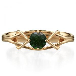 Celtic Engagement Ring Rose Gold and Emerald ENG10 Catalogue