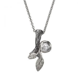 Twig and Leaf Raw Diamond Pendant White Gold Catalogue