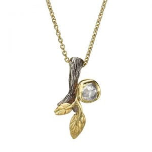 Twig and Leaf Raw Diamond Pendant Yellow Gold Catalogue