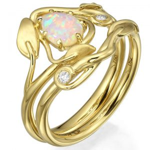 Leaves Opal Bridal Set Yellow Gold