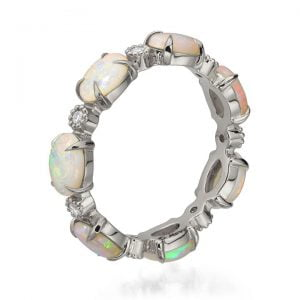 Opal Eternity Ring White Gold