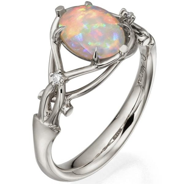 Opal and Diamonds Engagement Ring Platinum