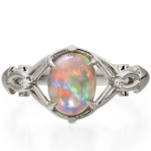 Platinum Opal Engagement Ring