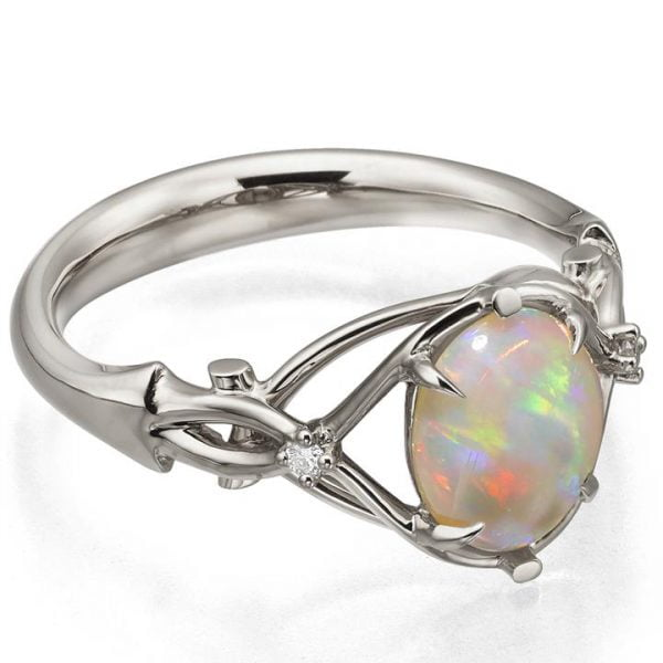 Platinum Opal and Diamonds Engagement Ring