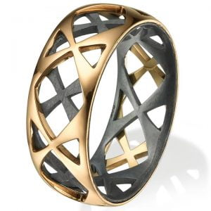 Men's Wedding Band Rose Gold Grid 4 Catalogue
