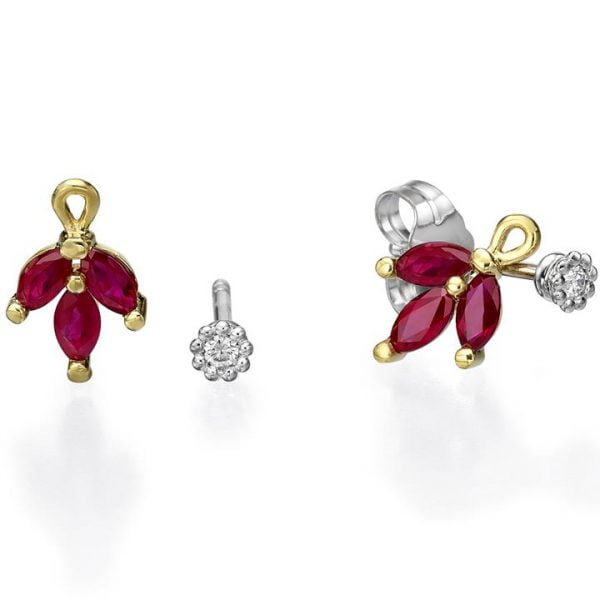 Vintage Earrings Yellow Gold and Marquise Cut Rubies Catalogue