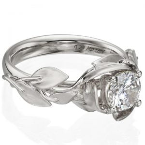 Leaves Engagement Ring White Gold and Moissanite
