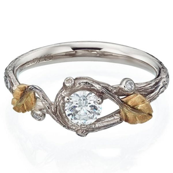 Twig and Leaf Engagement Ring Rose Gold and Moissanite