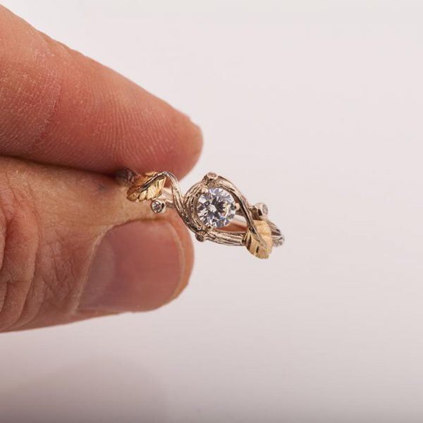 Twig and Leaf Engagement Ring Rose Gold and Diamond 31 Catalogue