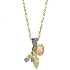 Twig and Leaf Opal Pendant Yellow Gold