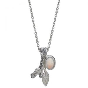 Twig and Leaf Opal Pendant White Gold