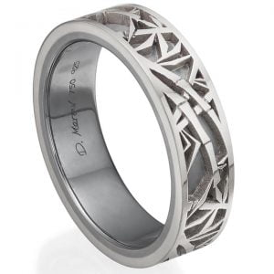 Bamboo Wedding Band White Gold