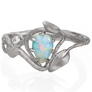 Twig and Leaves Opal Engagement Ring White Gold 3 Catalogue
