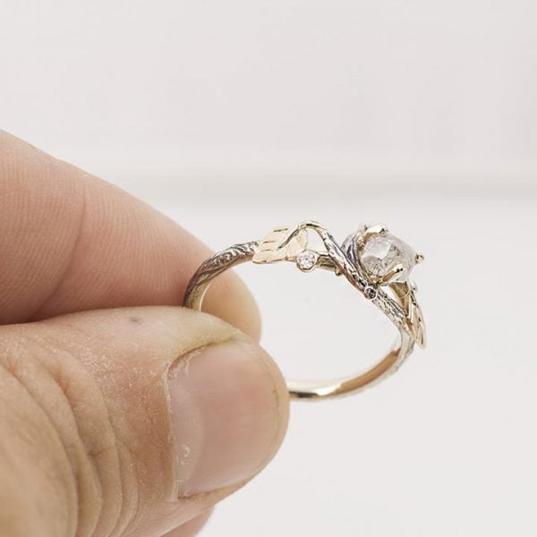 Raw Diamond Twig Engagement Ring Rose Gold 31 Catalogue