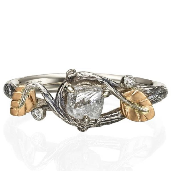 Raw Diamond Twig Engagement Ring Rose Gold