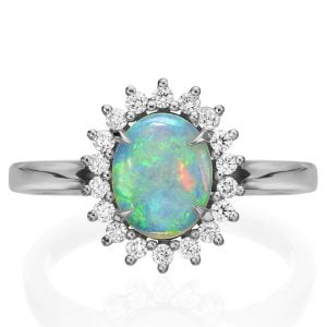 Opal and Diamonds Diana Engagement Ring Platinum Catalogue