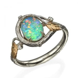 Twig and Leaves Oval Opal Ring Rose Gold
