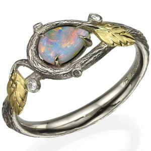 Yellow Gold Twig and Leaves Pear Opal Ring