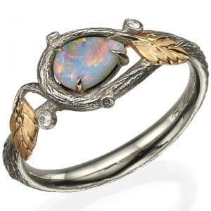 Pear Opal Twig and Leaves Ring Rose Gold