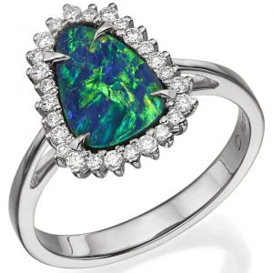 Black Opal and Diamonds White Gold Ring Catalogue