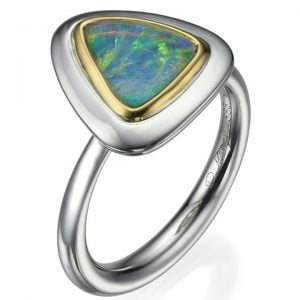 Two Tone Opal Ring Gold and Platinum Catalogue