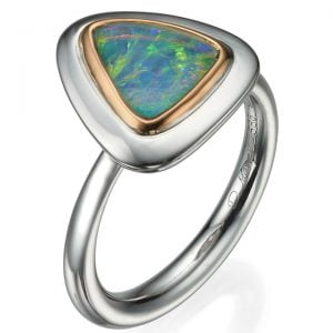 Two Tone Opal Ring Rose Gold and White Gold Catalogue