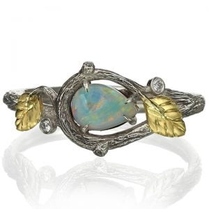 Twig and Leaves Pear Opal Ring Yellow Gold