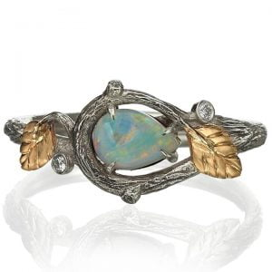 Twig and Leaves Pear Opal Ring Rose Gold