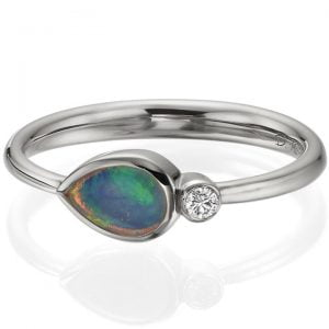 Australian Opal and Diamond White Gold Ring