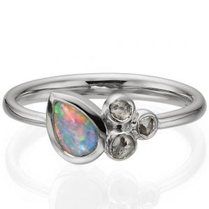 Opal and Raw Diamonds White Gold Ring 7 Catalogue