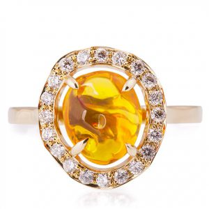 Mexican Fire Opal and Diamonds Engagement Ring Rose Gold Catalogue
