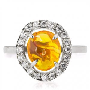 Mexican Fire Opal and Diamonds Engagement Ring Platinum Catalogue