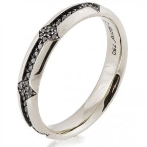Men's Wedding Band White Gold and Black Diamonds 334 Catalogue