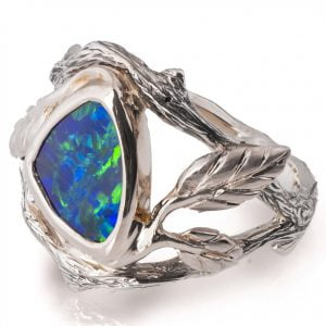 White Gold Twig and Leaf Black Opal Engagement Ring