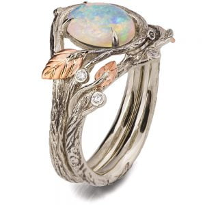 Twig and Leaves Pear Opal Bridal Set Rose Gold