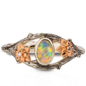 Twig and Flowers Opal Ring White and Rose Gold