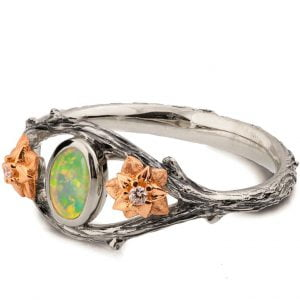 Nature Inspired Twig and Flowers Opal Ring Rose Gold