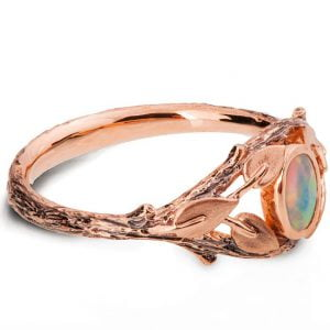 Rose Gold Twig and Leaves Opal Ring