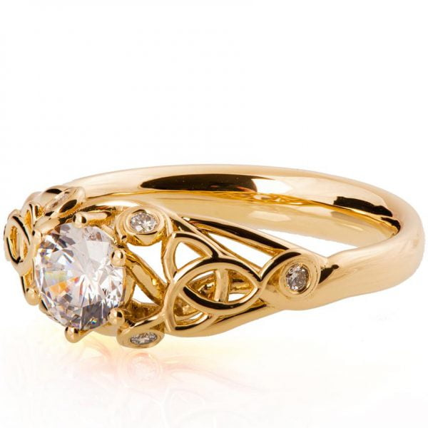 Knot Diamond Engagement Ring Rose Gold