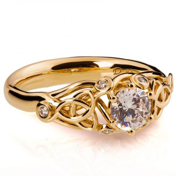 Rose Gold Knot Diamond Engagement Ring