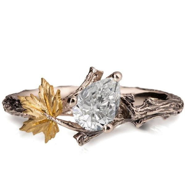 Twig and Maple Leaf Engagement Ring Yellow gold and Moissanite