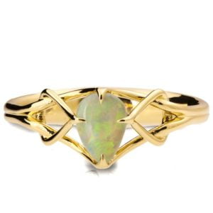 Yellow Gold Opal Celtic Engagement Ring