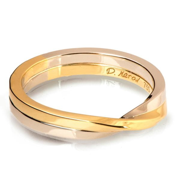 Mobius Wedding Band White and Yellow Gold