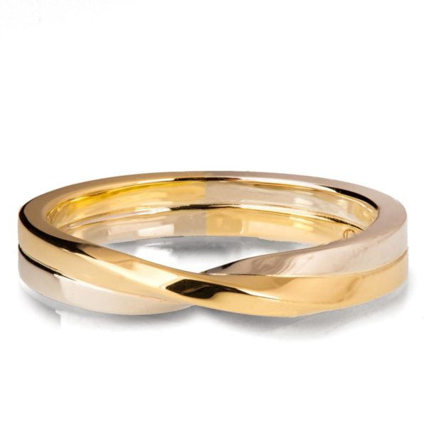 Two Toned White and Yellow Gold Mobius Wedding Band